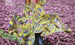 Tulip fields with woman Fashion Harper Bazaar